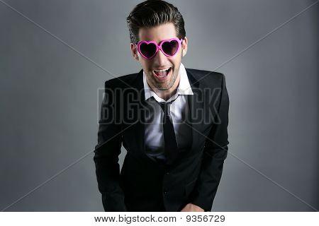 Lustige Herzen Form Rosa Sonnenbrille Kaufmann