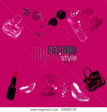 Watercolor  fashion glamour banners with bag, lipstick, glasses and shoes.