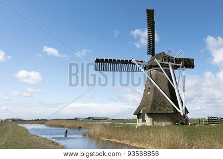 Netherlands - Jannum - Circa April 2015: Frisian Polder With Mill.