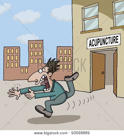 Conceptual cartoon about acupuncture