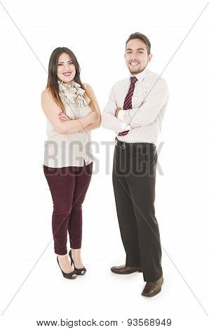 Office couple arms crossed