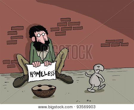 Cartoon about animal and homeless