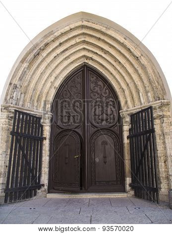 Ancient ornate door to the medieval church