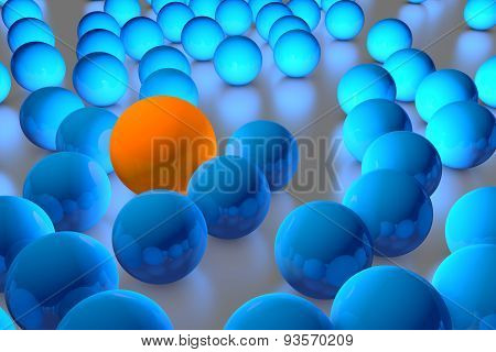 Many Blue Balls Among Which The Orange Stands Out. 3D Render Image.