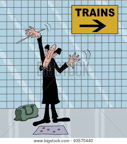 Cartoon of a conductor in metro