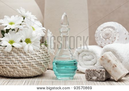 Spa and beauty treatment Bottle of scented liquid