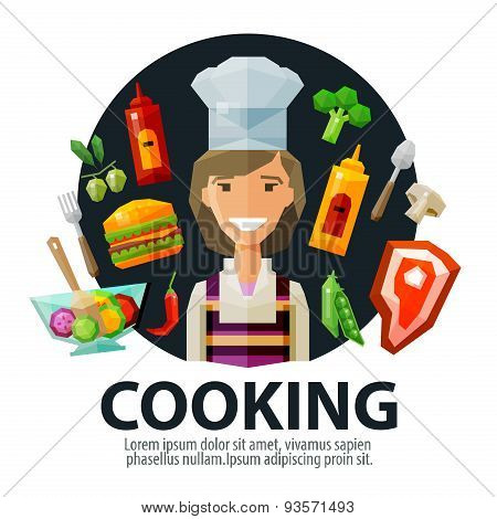 cooking vector logo design template. fresh food, kitchen or cook, chef icon. flat illustration