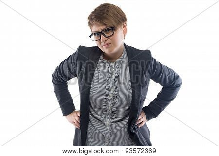 Dissatisfied business woman with short hair