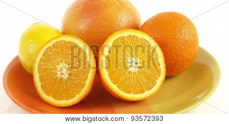 Plate With Citrus Fruits