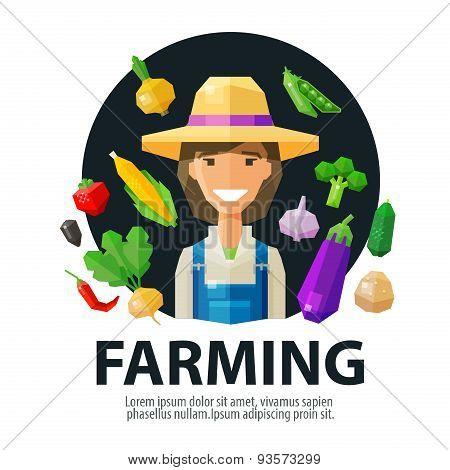 farming, farmer, farm vector logo design template. fresh food or harvest icon. flat illustration