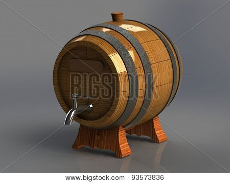 Wooden Barrel For Alcoholic With An Iron Tap