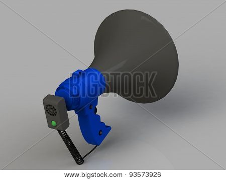 Blue Plastic Bullhorn With A Microphone And A Horn Handle Isolated