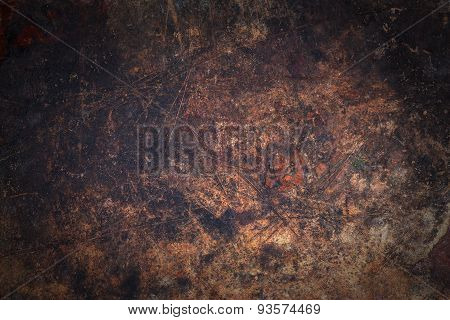 Dark Wooden Surface With Scratches And Spots
