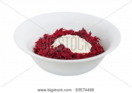 Grated Beets With Sour Cream In A Dish