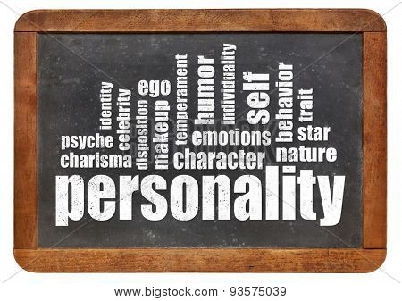 personality word cloud on an isolated vintage blackboard