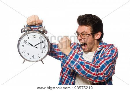 Student with alarm clock isolated on white