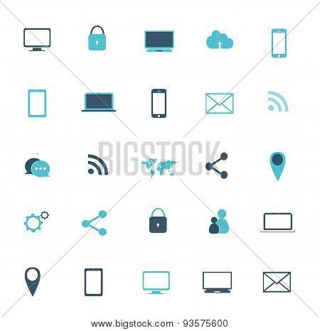 Digital Devices Icon Set Blue