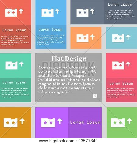 Audio Cassette Icon Sign. Set Of Multicolored Buttons With Space For Text. Vector