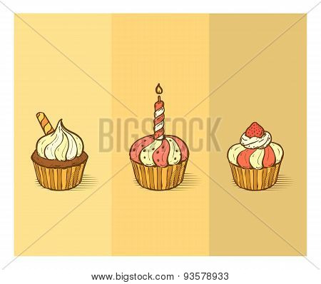 Three Delicious Yummy Vector Cupcakes With Sprinkles, Berry Chips, Strawberry
