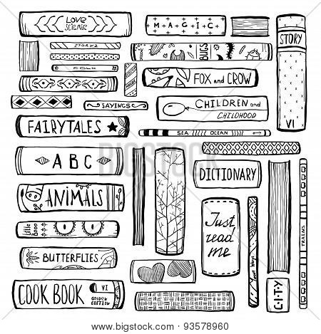 Books Collection Monochrome Inky Outline Illustration