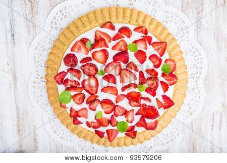 Tart With Strawberries And Panna Cotta