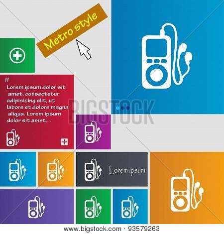 Mp3 Player, Headphones, Music Icon Sign. Buttons. Modern Interface Website Buttons With Cursor Point