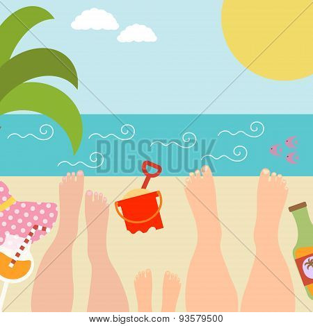 Summer background with with family at the seaside