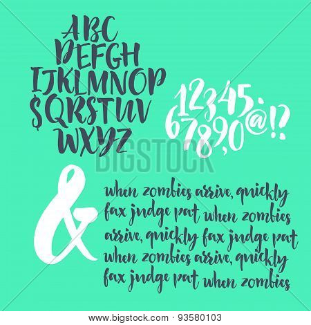 Alphabet letters: lowercase, uppercase and numbers. Vector alphabet. Hand drawn letters. Letters of