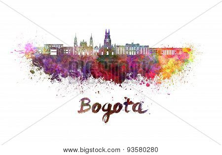 Bogota Skyline In Watercolor