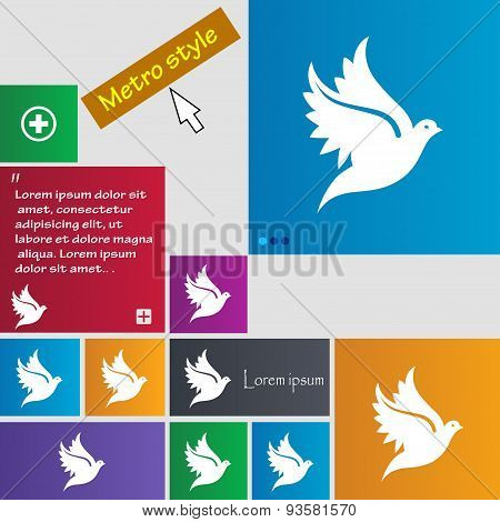 Dove Icon Sign. Buttons. Modern Interface Website Buttons With Cursor Pointer. Vector