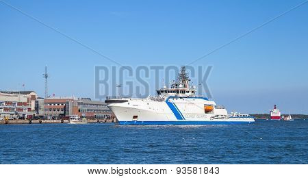 Finnish Offshore Patrol Ship Turva In Port Of Helsinki