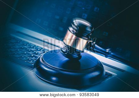 Computer with gavel