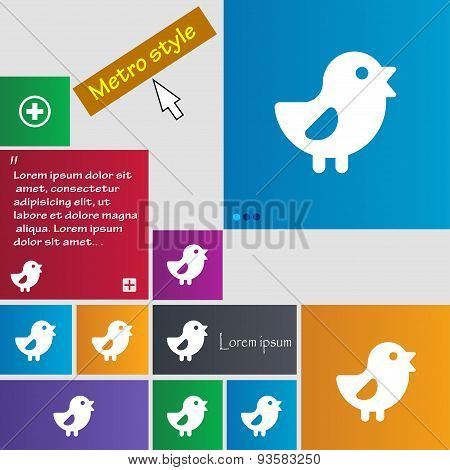 Chicken, Bird Icon Sign. Buttons. Modern Interface Website Buttons With Cursor Pointer. Vector