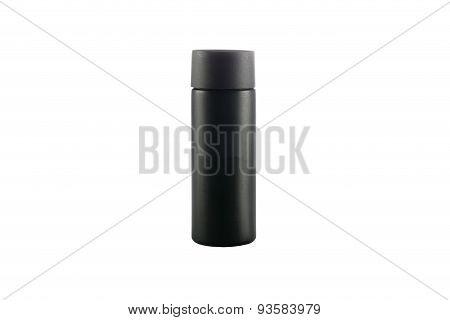 Black Bottle Isolated On A White Background.