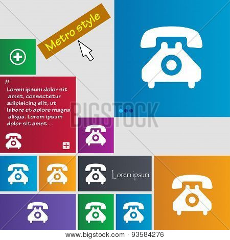 Retro Telephone Handset  Icon Sign. Buttons. Modern Interface Website Buttons With Cursor Pointer. V