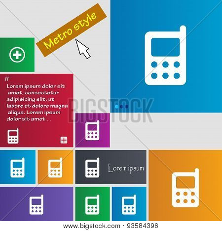 Mobile Phone Icon Sign. Buttons. Modern Interface Website Buttons With Cursor Pointer. Vector
