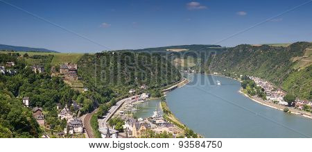 Panorama Of The Upper Middle Rhine Valley Near St. Goar