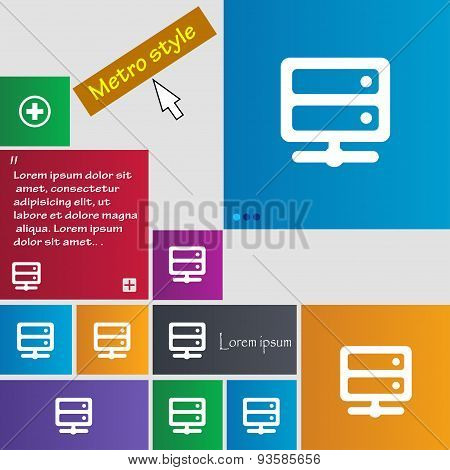 Server Icon Sign. Buttons. Modern Interface Website Buttons With Cursor Pointer. Vector