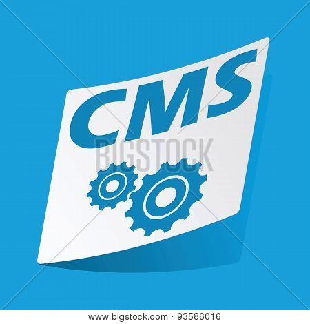 CMS settings sticker