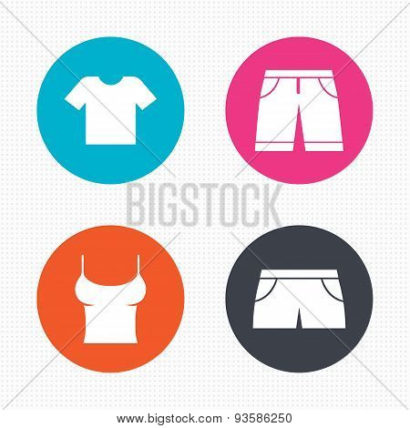 Clothes signs. T-shirt and pants with shorts.