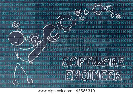 Man With Wrench Setting Up Binary Code, Software Engineer Jobs