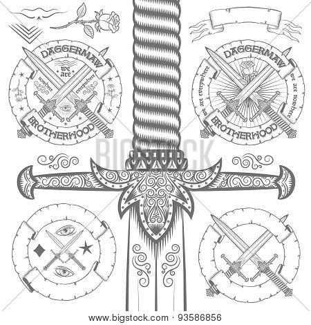 Vintage logo daggers