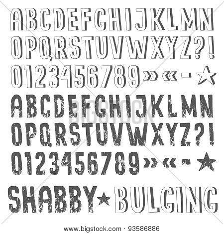 Sans serif grunge alphabet
