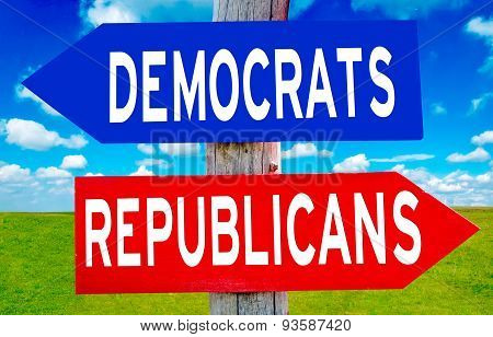 Republican And Democrat Sign
