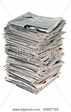 Tall Stack Of Used Newspapers