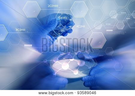 science, chemistry and people concept - close up of scientists hands with glass and chemical powder in petri dish making test or research at laboratory over blue molecule formula