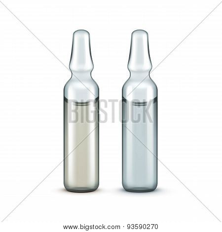 Vector Glass Medical Ampoules Bottles Isolated