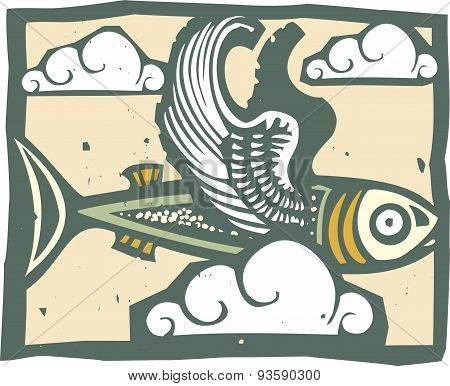 Flying Fish And Clouds