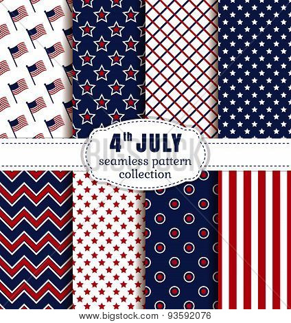 American Independence Day. Seamless Patterns Set.