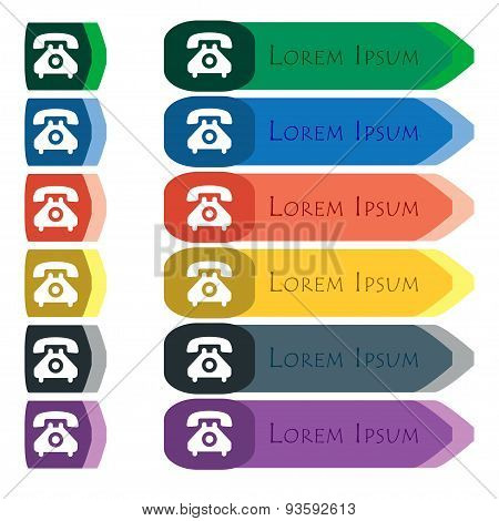 Retro Telephone Handset  Icon Sign. Set Of Colorful, Bright Long Buttons With Additional Small Modul